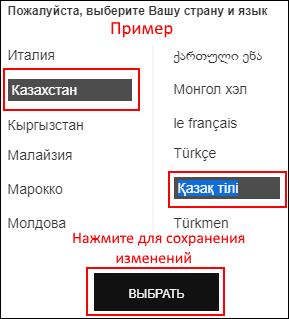 Пример выбора страны и языка